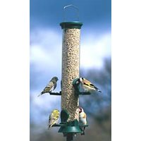 Seed feeder in plastic. 35 cm, 4 holes