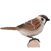 European Tree Sparrow Wood Carving